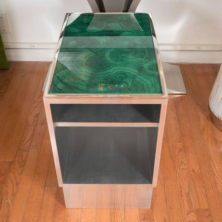 Pair of Steel Tables with Faux Malachite Tops 2