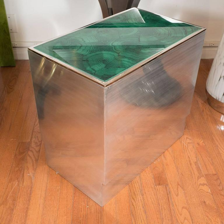 Pair of Steel Tables with Faux Malachite Tops 3