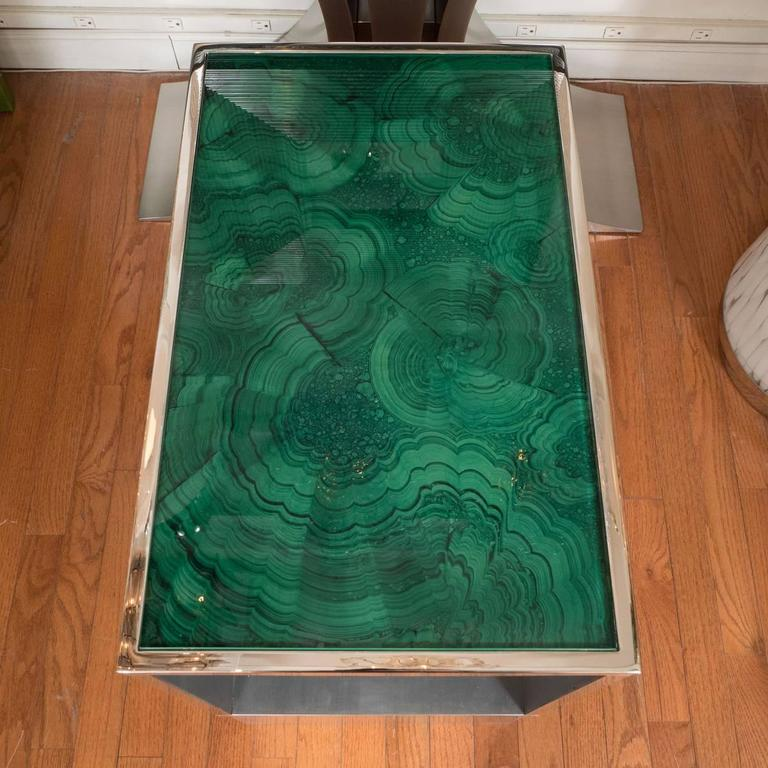 Pair of Steel Tables with Faux Malachite Tops 4