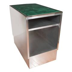 Pair of Steel Tables with Faux Malachite Tops