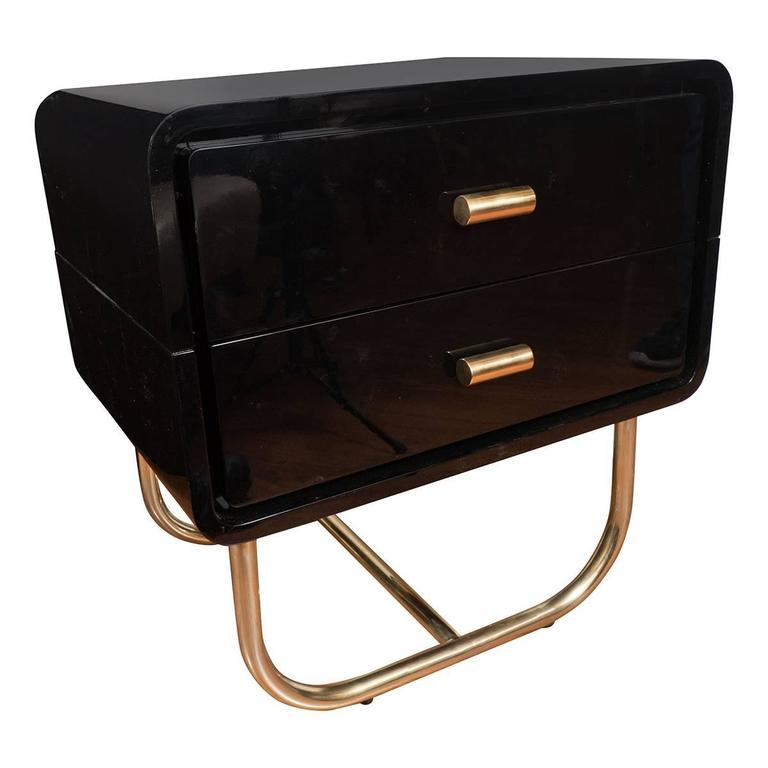 Pair of Lacquered Wood Side Tables