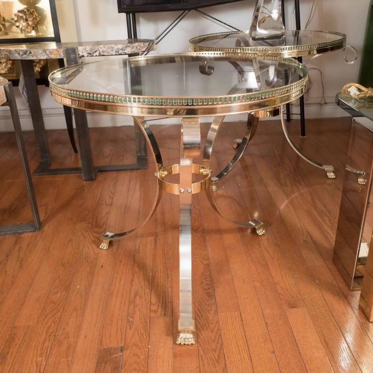 Pair of Polished Nickel and Brass Tripod Tables 2