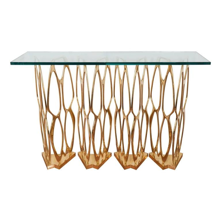 Sculptural Openwork Brass Console Table 1