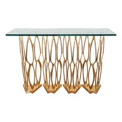 Sculptural Openwork Brass Console Table