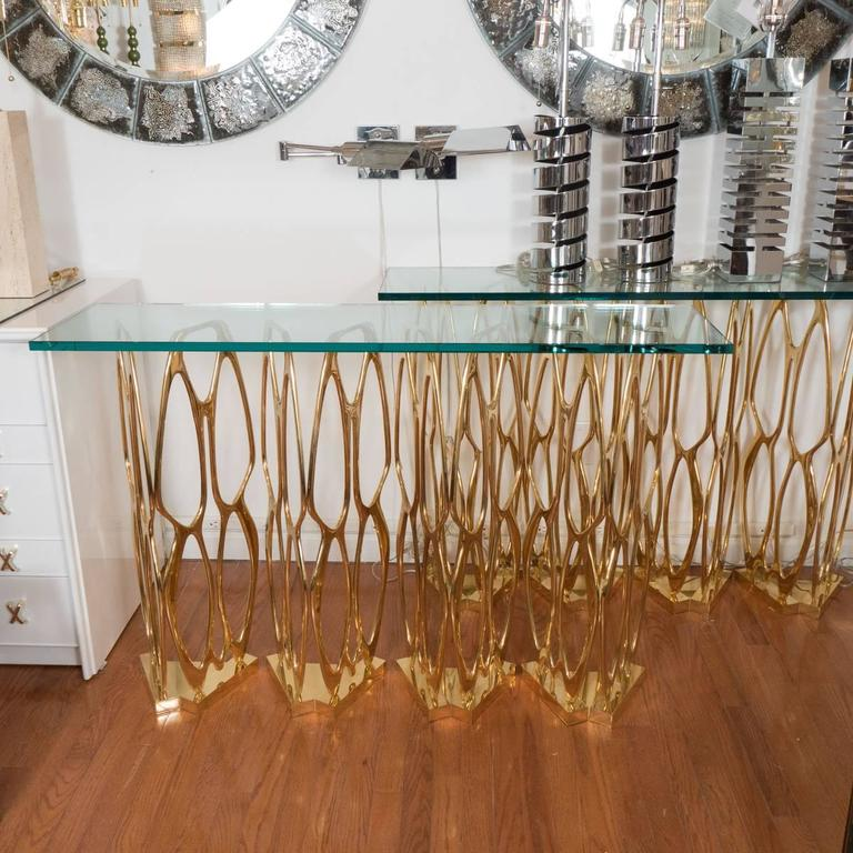 Sculptural Openwork Brass Console Table 3