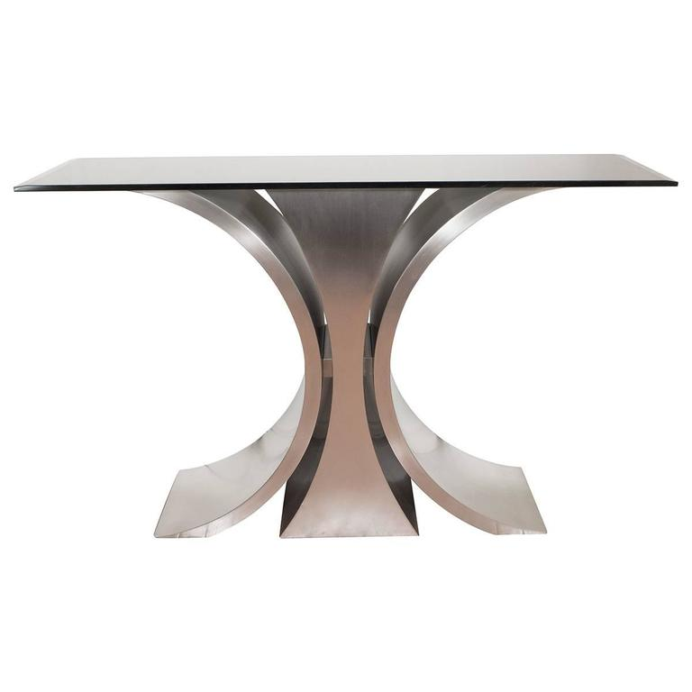 Sculptural Steel Console Table For Sale