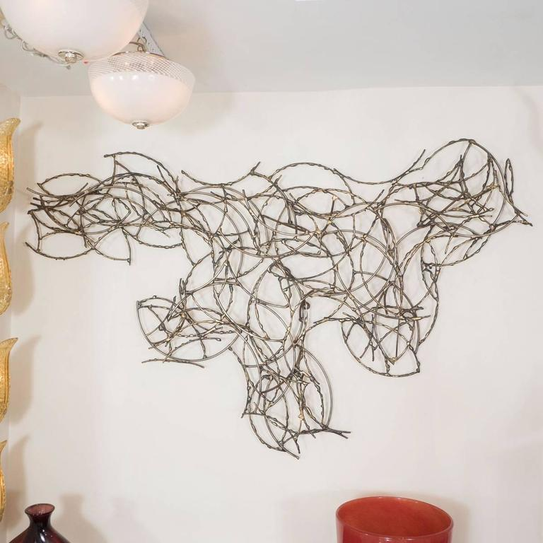 Abstract Brass Wire Wall Sculpture 2