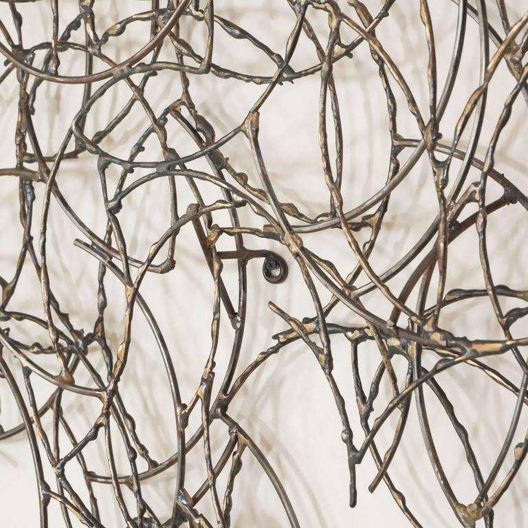 Abstract Brass Wire Wall Sculpture 4