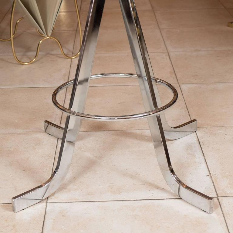 Mid-Century Modern Set of Four Polished Nickel Stools For Sale