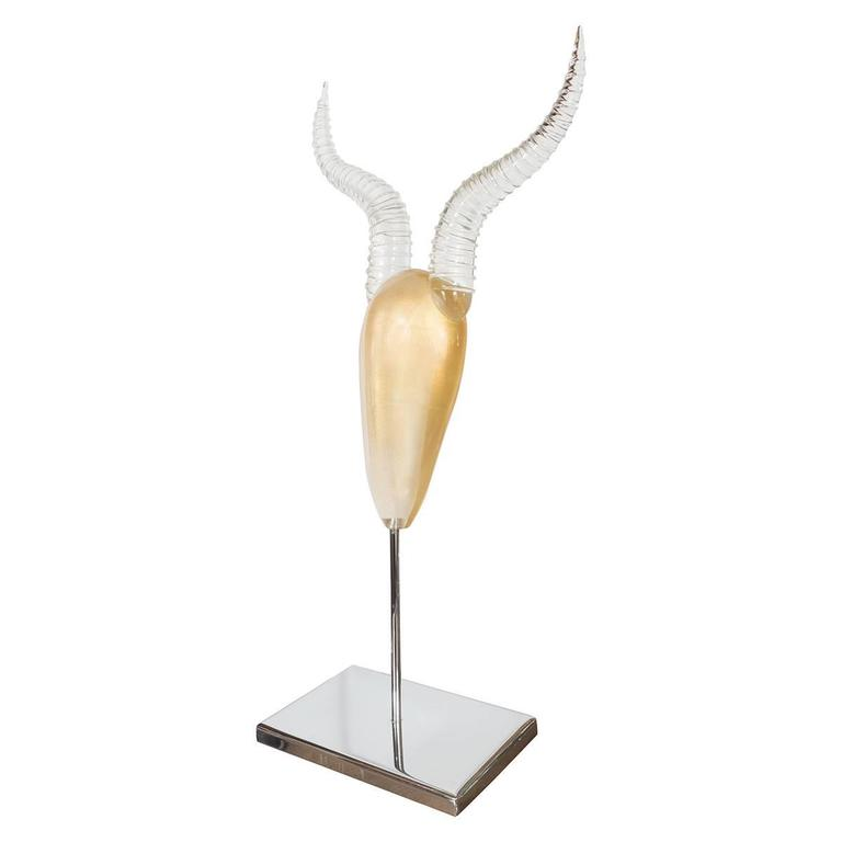 Gold Murano Glass Kudu Sculpture For Sale