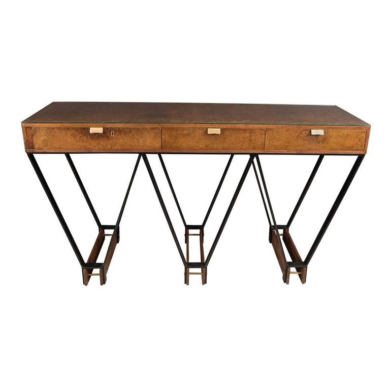 Wood and Brass Console with Blackened Metal Base For Sale
