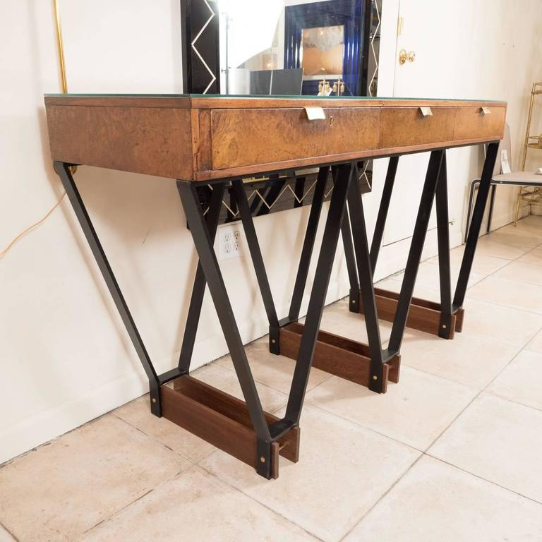 Wood and Brass Console with Blackened Metal Base 2