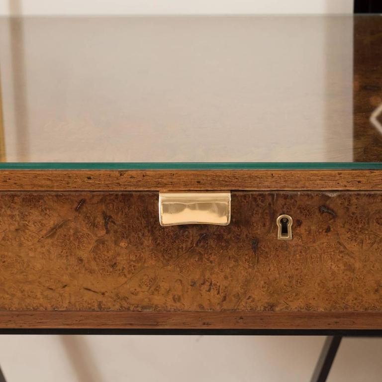 Mid-Century Modern Wood and Brass Console with Blackened Metal Base For Sale