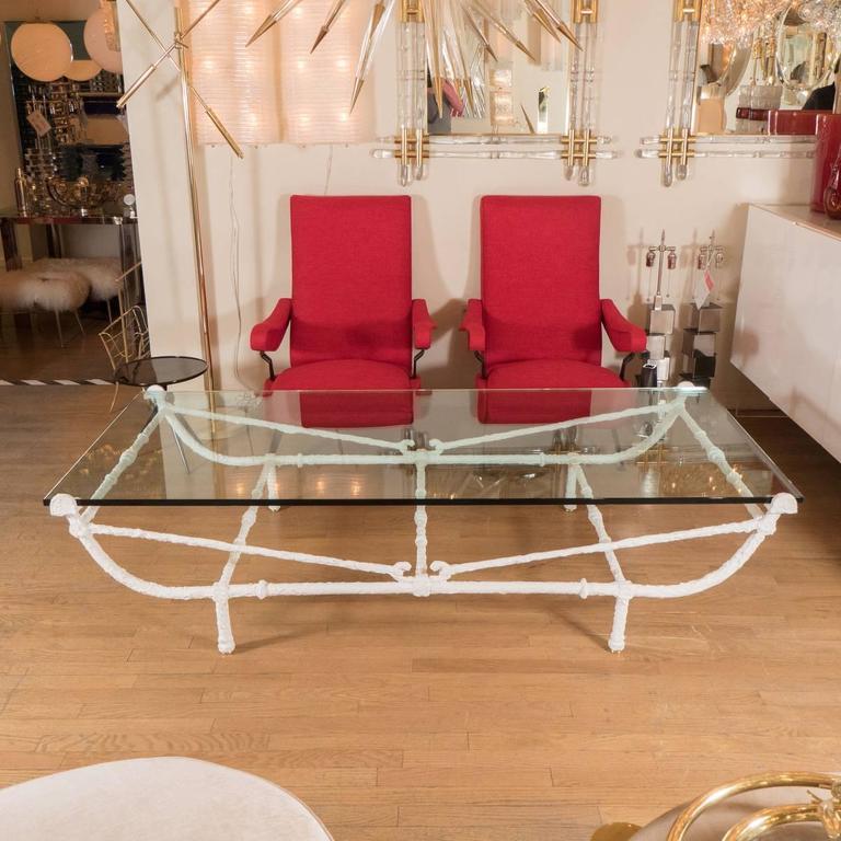 Rectangular White Wrought Iron Coffee Table 2