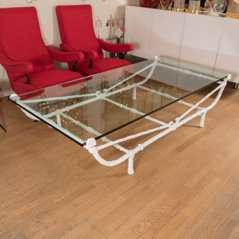 Mid-Century Modern Rectangular White Wrought Iron Coffee Table For Sale