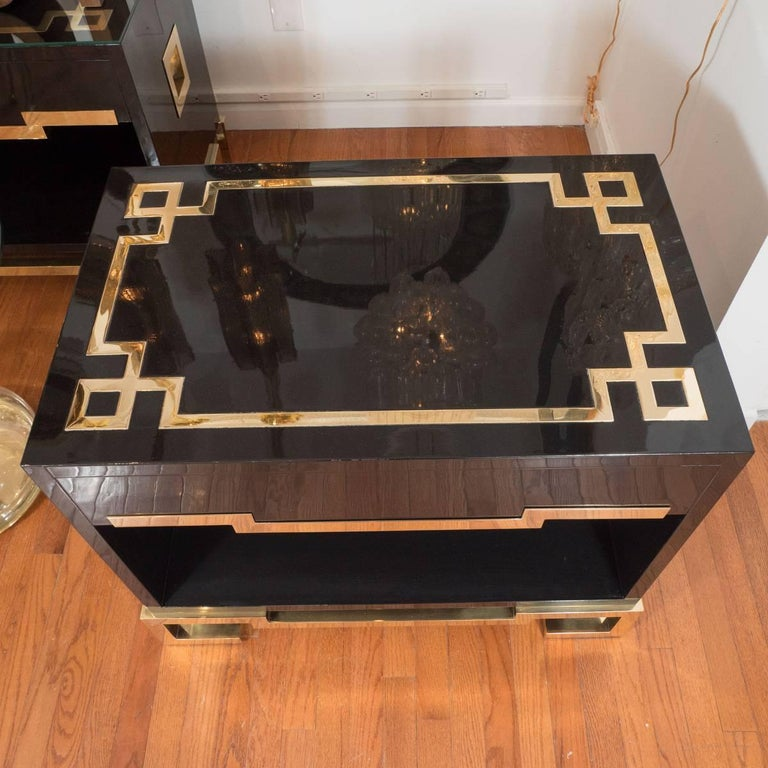 Italian Pair of Lacquered Wood and Brass End Tables For Sale