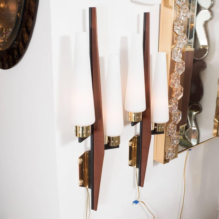 Mid-Century Modern Stylized Two-Arm Sconces For Sale