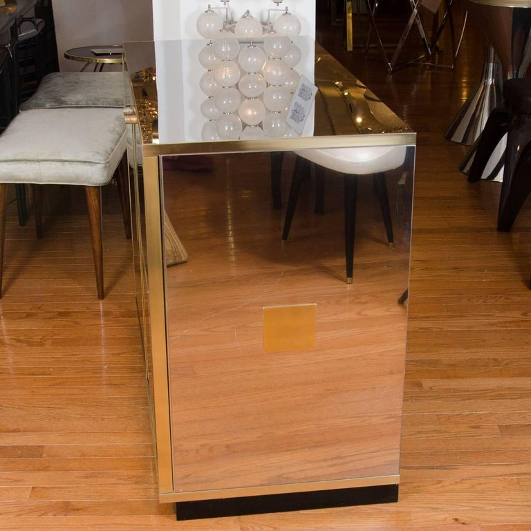 Mid-Century Modern Stainless Steel and Brass Chest For Sale