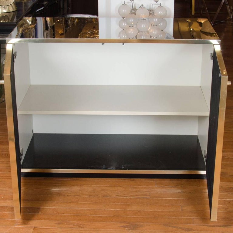 Italian Stainless Steel and Brass Chest For Sale