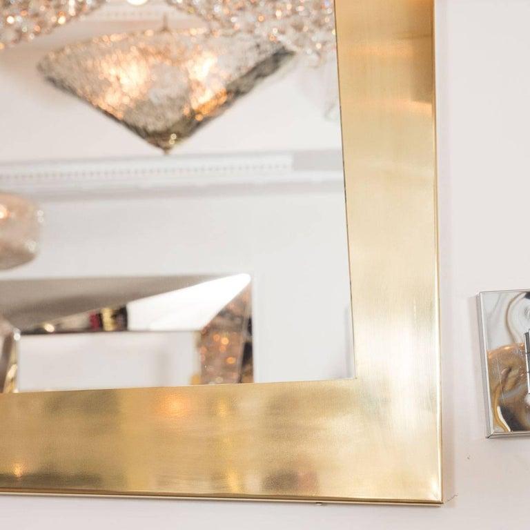 Italian Brass Trapezoidal Mirror For Sale