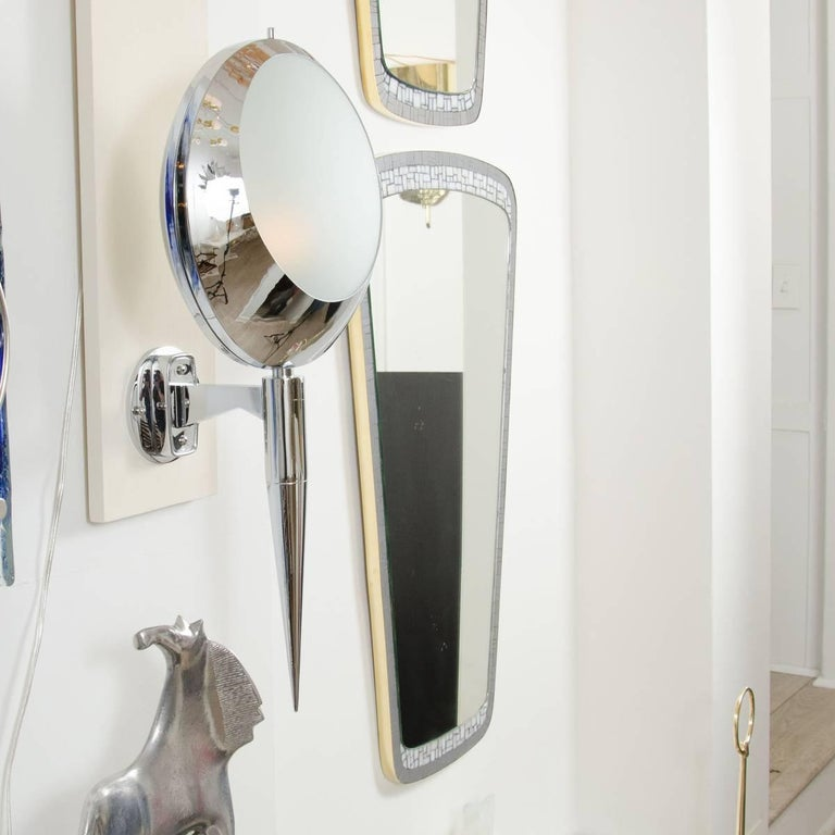 Pair of Chrome Circular Sconces with Frosted Glass Shades 3