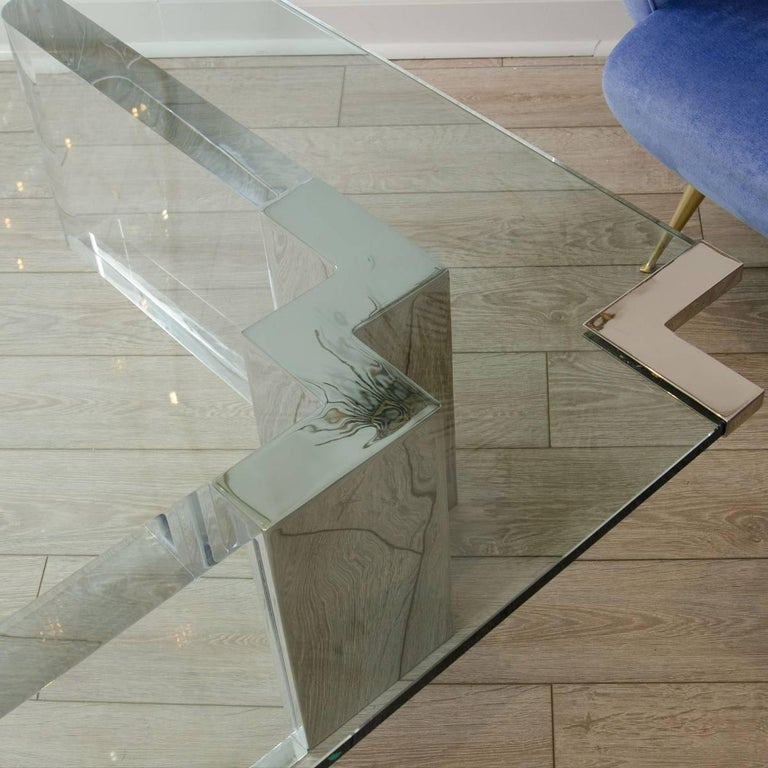 Mid-Century Modern Wedge Form Lucite and Glass Coffee Table with Chrome Details For Sale