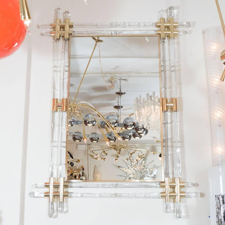 Brass and Glass Rod Mirror 3