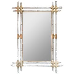 Brass and Glass Rod Mirror