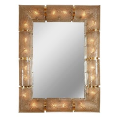 Rectangular Illuminated Mirror with Textured Glass Surround