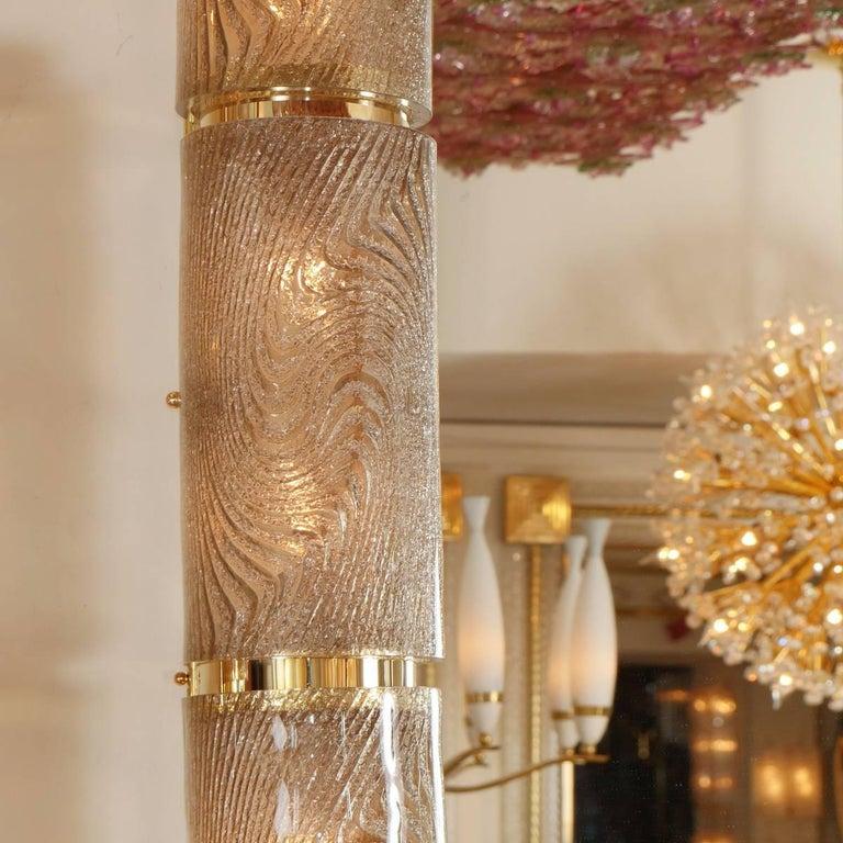Italian Rectangular Illuminated Mirror with Textured Glass Surround For Sale