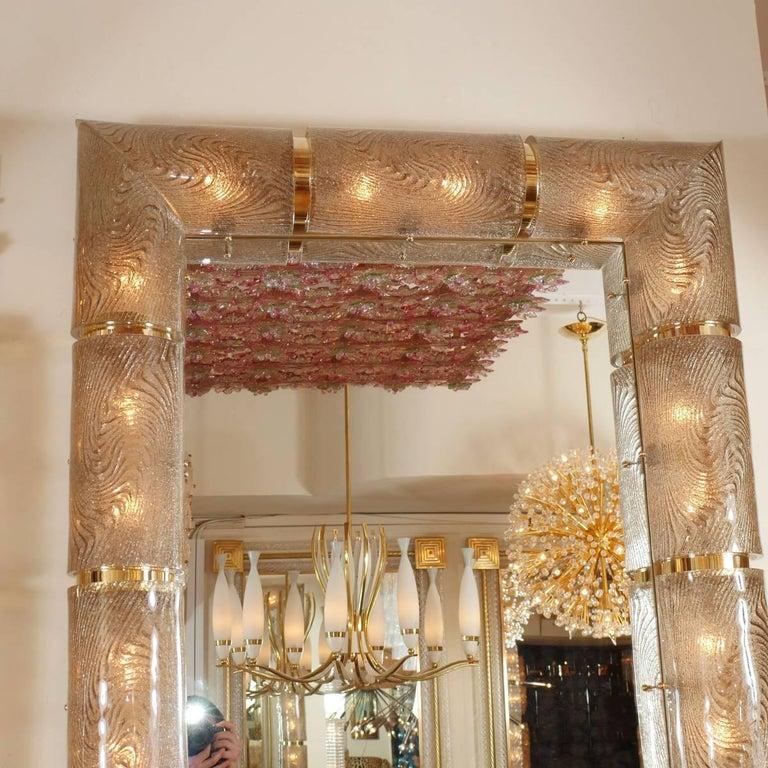 Mid-Century Modern Rectangular Illuminated Mirror with Textured Glass Surround For Sale