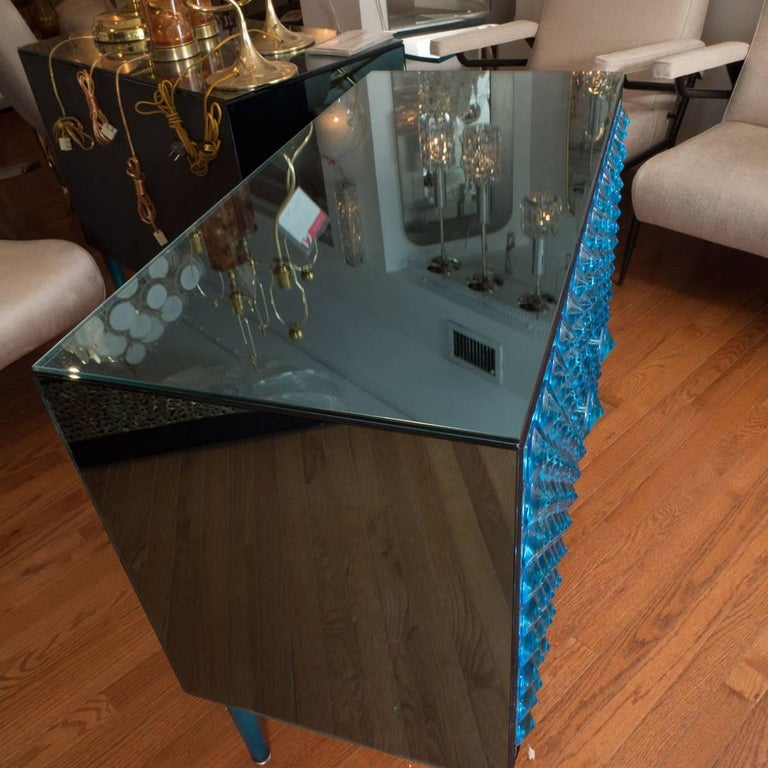 Mid-Century Modern Blue Mirrored Cabinet with Applied Glass Design For Sale