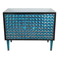Blue Mirrored Cabinet with Applied Glass Design