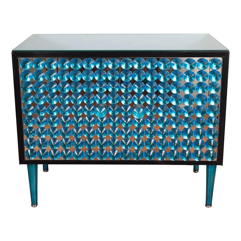 Blue Mirrored Cabinet with Applied Glass Design For Sale