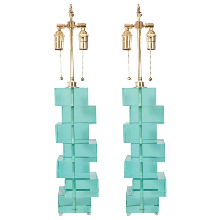 Pair of Green Glass Block Lamps