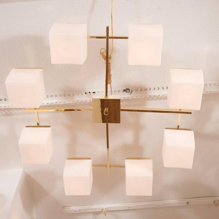 Italian Brass Flush Mount with Glass Cube Shades For Sale