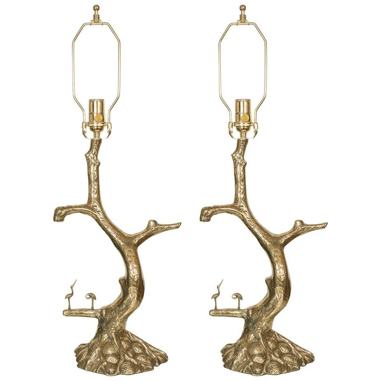 Pair of Brass Tree Form Lamps