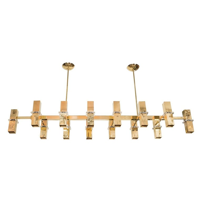 Rectilinear Brass Fourteen-Light Chandelier