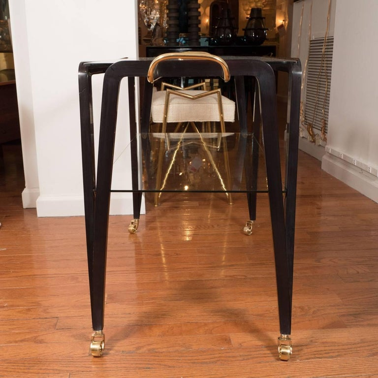 Mid-Century Modern Two-Tiered Lacquered Wood Serving Cart For Sale