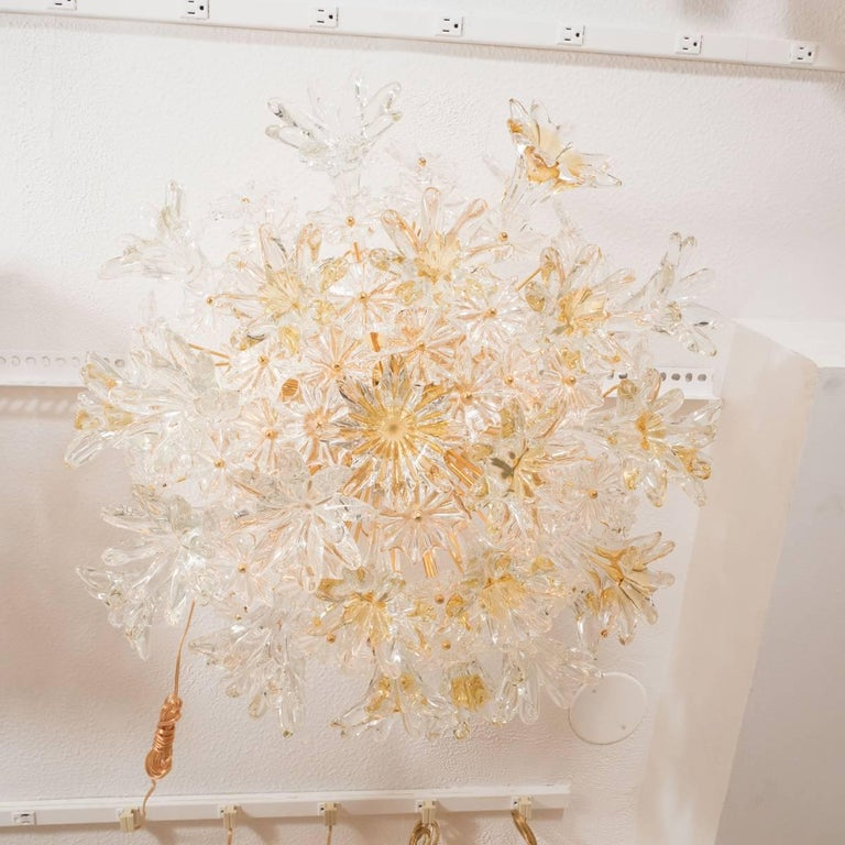 Mid-Century Modern Floral Motif Sputnik Flush Mount Fixture For Sale