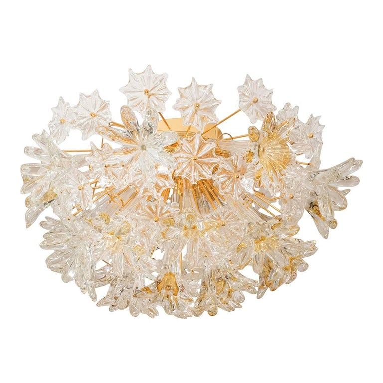 Floral Motif Sputnik Flush Mount Fixture For Sale