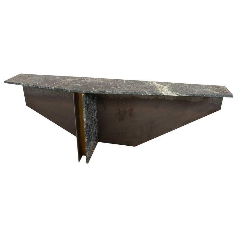 Angular Blackened Metal Console Table