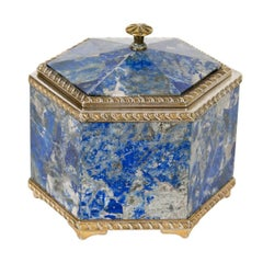 Hexagonal Sterling Silver and Lapis Lazuli Box