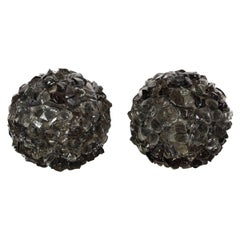 Pair of Spherical Rocky Black Murano Glass Lamps