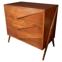 Pair of Angular Motif Chests of Drawers