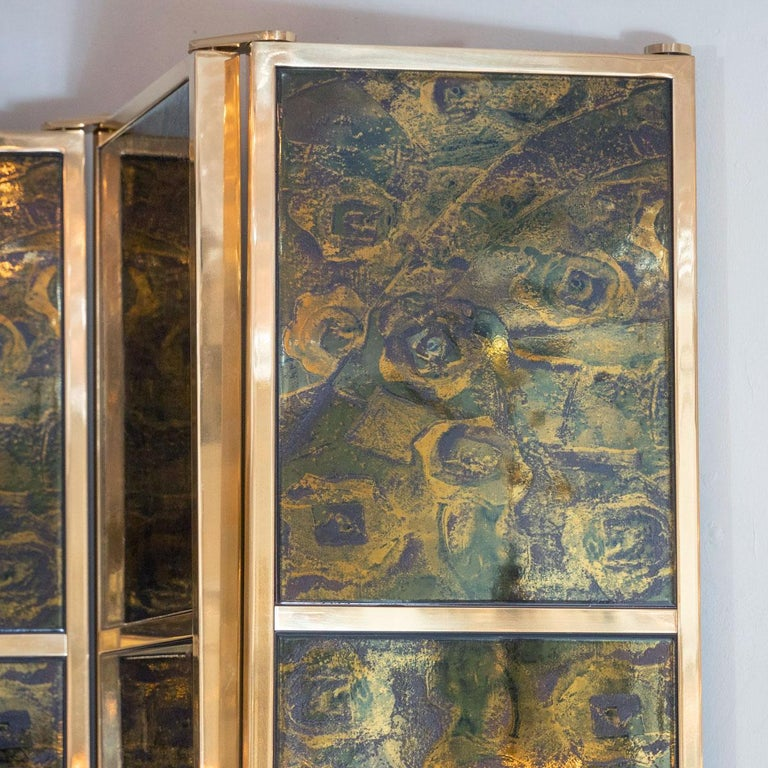 Italian Brass Folding Screen with Inset Vintage Ceramic Panels For Sale
