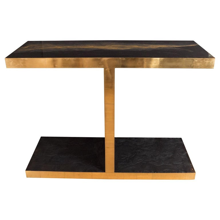 Brass Columnar Console Tables