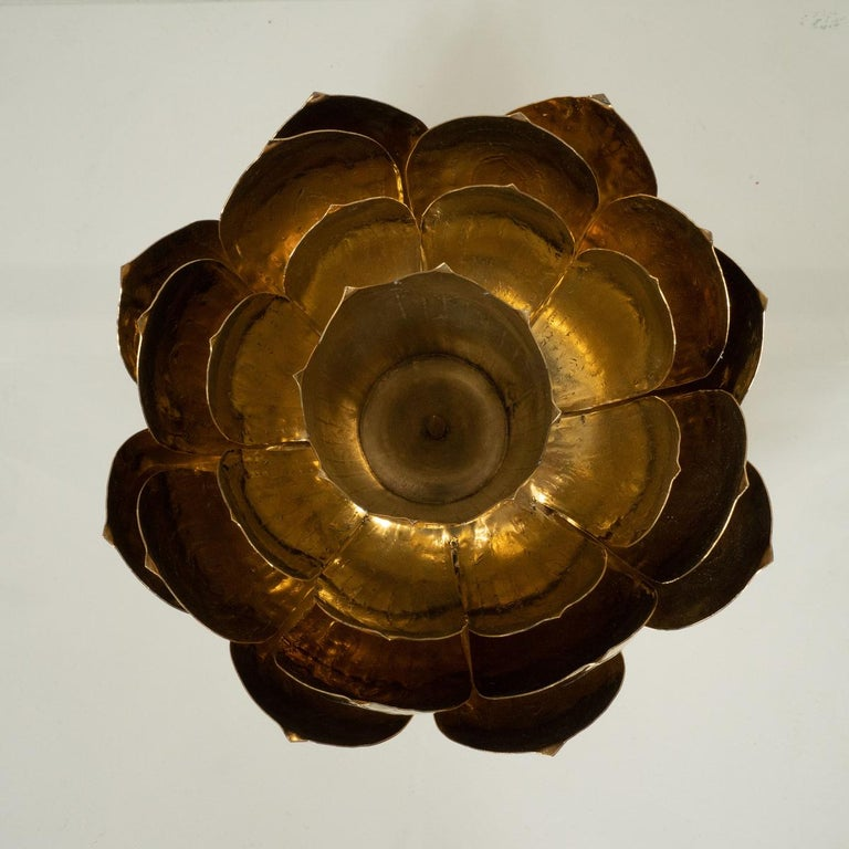 American Pair of Brass Lotus Candlesticks For Sale