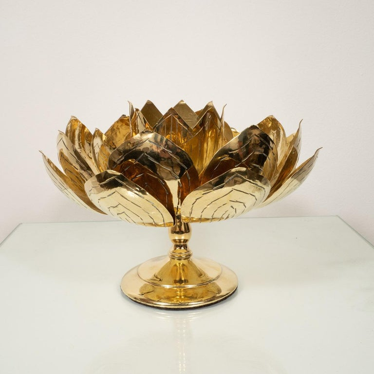 Pair of etched brass lotus form candlesticks by Feldman.