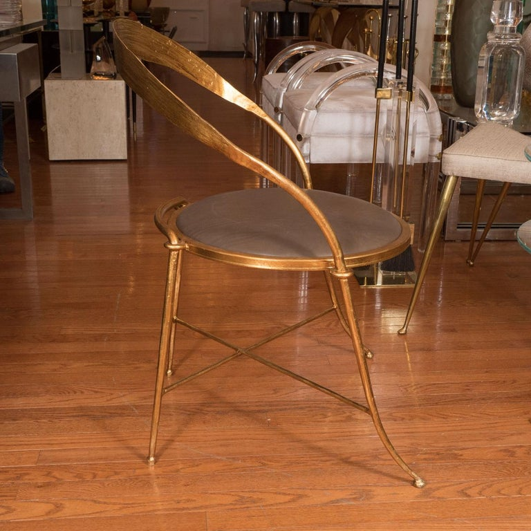 Organic Modern Pair of Gilt Metal, Sculptural Chairs For Sale